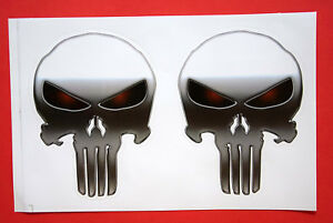 2x Autocollant Sticker Crâne, Tête De Mort Punisher 8 X 11 Cm Moto Planche #218 Assurer IndéFiniment Une Apparence Nouvelle