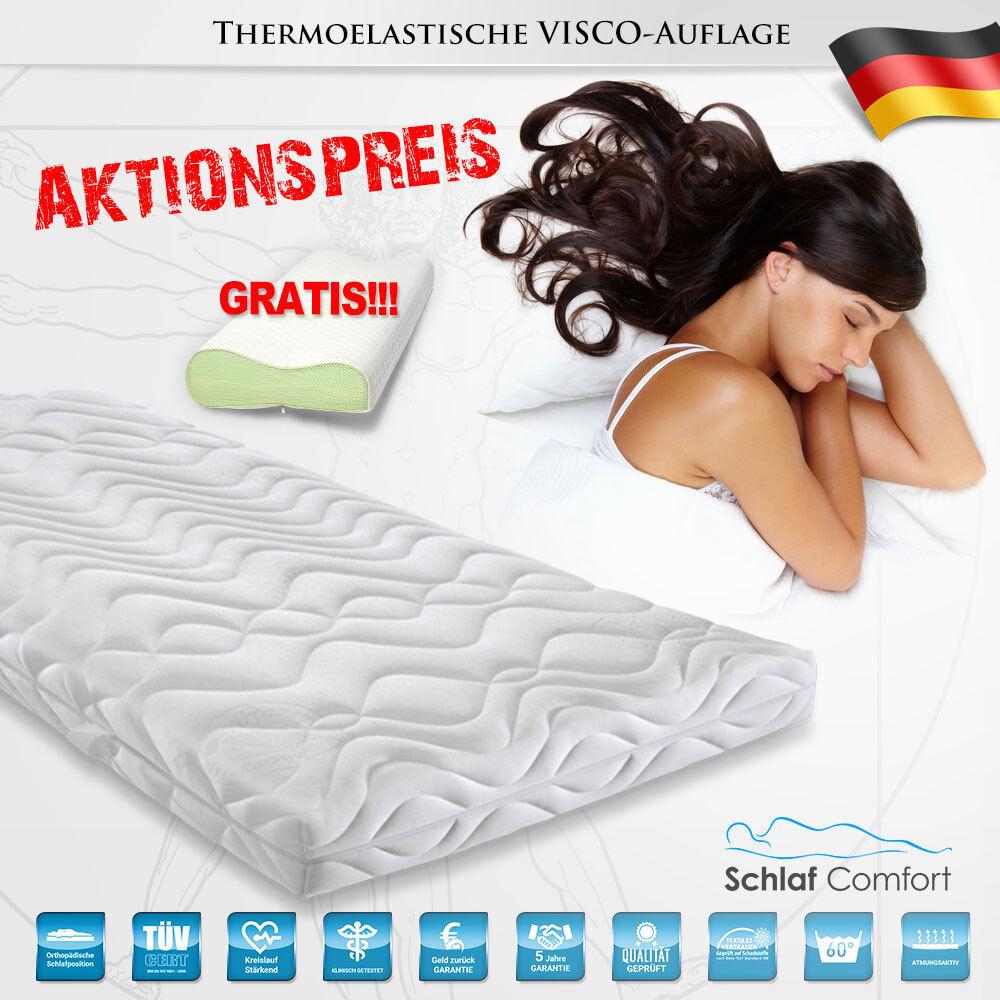 Viscoelastische Matratzenauflage Topper Auflage 200x200x12cm +2 Kissen Gratis