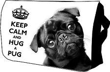 Cute Black Pug KEEP CALM Bag College / Messenger / Sholder / School / Laptop