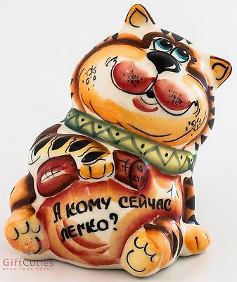 Cat w sausage salami Russian Collectible Gzhel style Colorful Porcelain Figurine