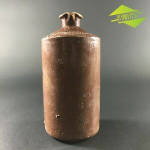 LARGE-BROWN-GLAZE-EARLY-ANTIQUE-VINTAGE-CALDWELL-039-S-INK-POTTERY-STONEWARE-BOTTLE