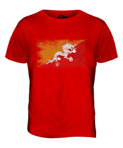 BHUTAN DISTRESSED FLAG MENS T-SHIRT TOP DRUK YUL FOOTBALL BHUTANESE GIFT SHIRT