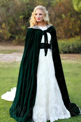 Stock Medieval Wedding Velvet Cape Halloween Hood Cloak Vampire Gothic in Black