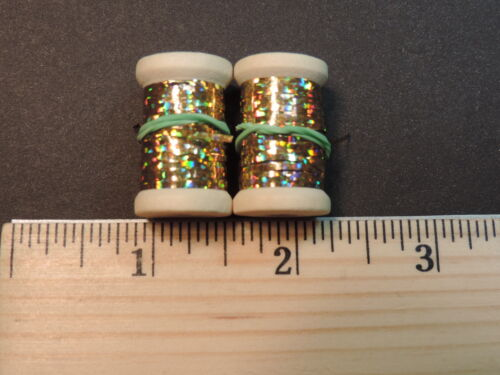 2 New Spools of Flat Gold Holographic Tinsel or Flash 20 yards