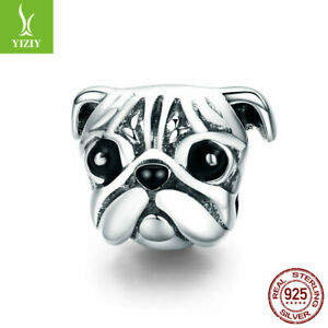 European-Women-Authentic-925-Sterling-Silver-PUG-Charm-Bead-Pendant-Fit-Chain