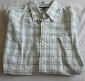 Banana-Republic-Mens-Large-16-16-1-2-White-Blue-Plaid-Button-Up-Long-Sleeve