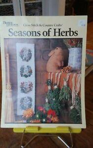 Rare-Better-Homes-Garden-Seasons-of-Herbs-cross-stitch-chart-Gen-1-29-bellpull