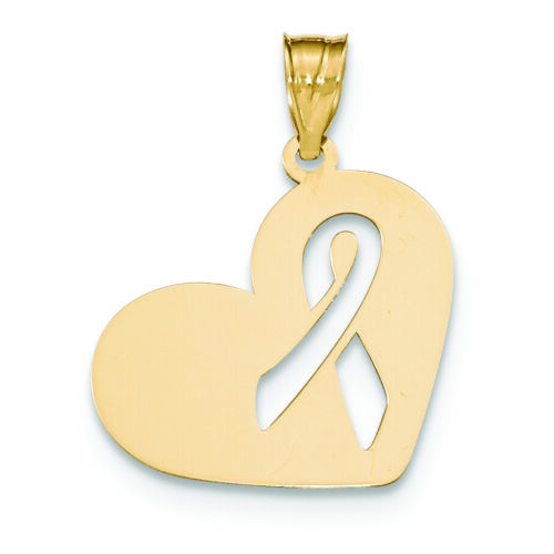 Details about  /14K Yellow Gold Heart with Awareness Ribbon Charm Pendant MSRP $357