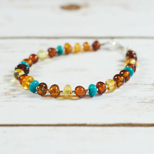 Genuine-Natural-Baltic-Amber-Bracelet-Turquoise-Silver-Brown-Cognac-Yellow-Beads