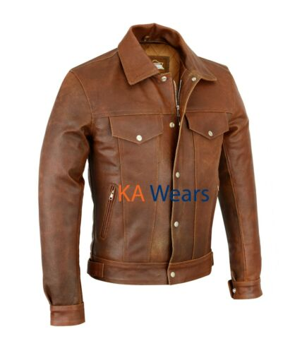 Mens Motorcycle Biker Real Leather Brown Motorbike Jacket Pockets Racer Fashion