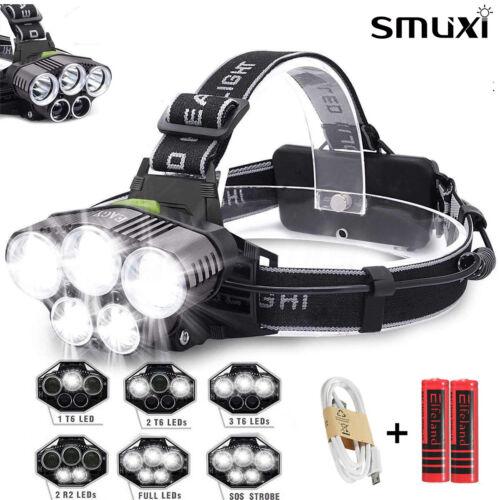 90000LM 5X T6 LED Rechargeable Headlamp Headlight Torch USB Lamp Light+2x