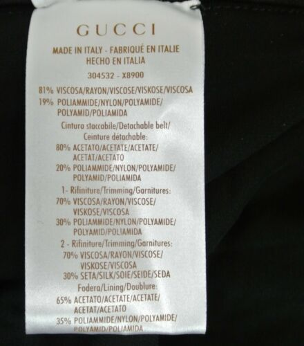 $2600 NEW Authentic Gucci Runway Shiny Viscose Jersey Dress W/O Belt, 304532