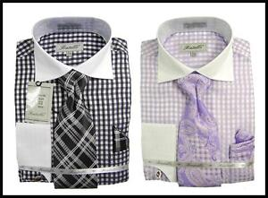 Fratello-Gingham-Plaid-White-Collar-French-Cuff-Dress-Shirt-Tie-Hanky-FRV4115P2