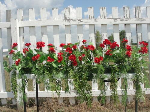 Window Box Silk Red Geraniums Fern Arrangement Grotto Porch Flower Garden 6ft