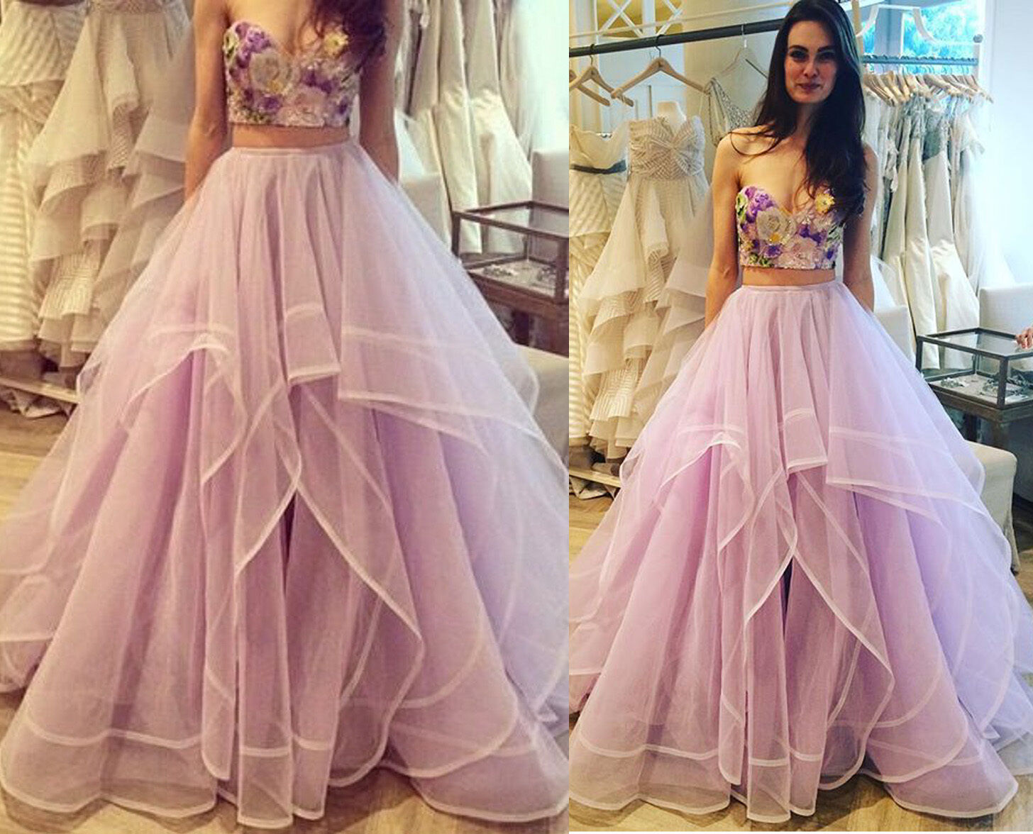 Tutu Women Long Organza Full Skirts Wedding Party Lavender Formal Ball Gown