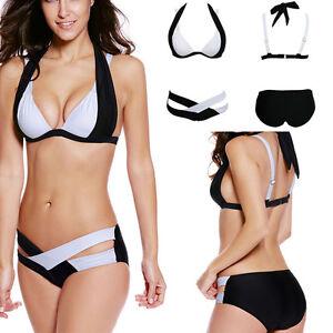 Black white striped bikini hotties