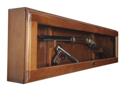 Gun Collector Display Cabinet Wall Mount Rack Wood Case Rifle ...