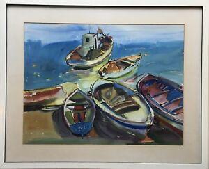 Karin-Witte-1939-Hamburg-Fishing-Boats-on-the-Shore-Mediterranean-Italy-62X77