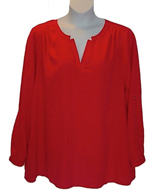 Plus Size Holiday Red Tunic Top Lane Bryant 22W 24W Generous Cut Bust 59