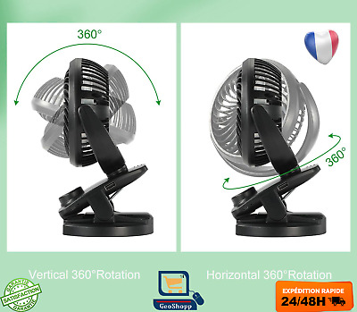Ventilateur USB Bureau Portable Table Silencieux Batteries Rotation à 360° | eBay