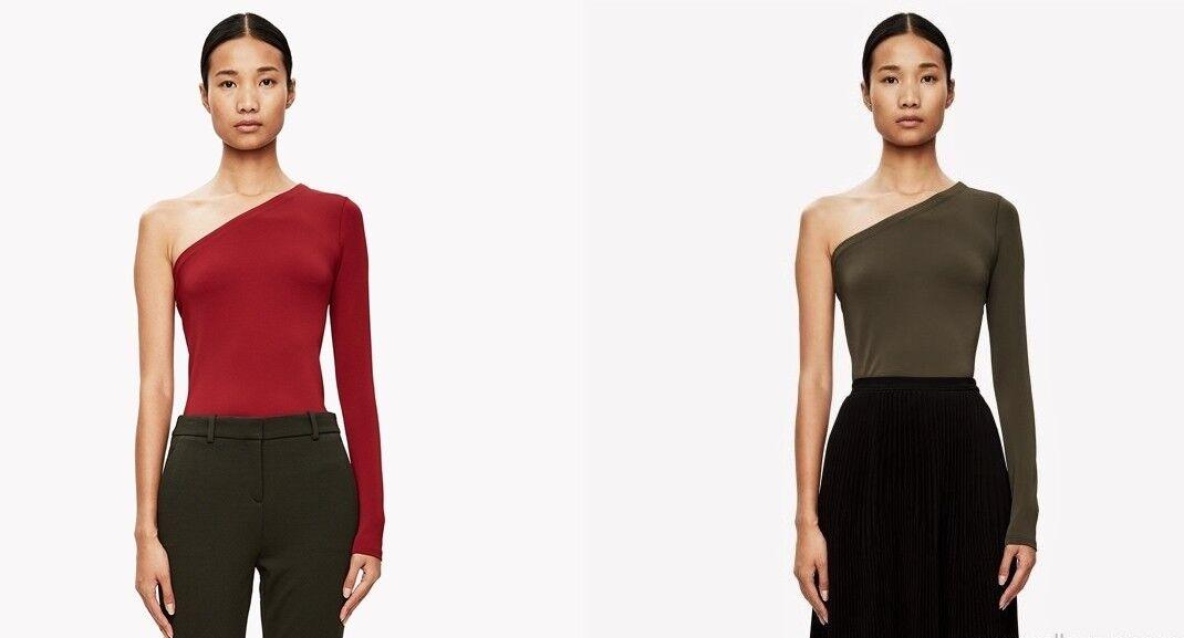 NWT Theory Lefft One Shoulder Matte Jersey Top rot & Grün Größe P(XS),S,M