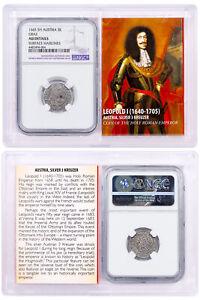 1640-1705-Austria-Silver-3-Kreuzer-Leopold-I-Hogmouth-NGC-AU-Story-Valt-SKU51974
