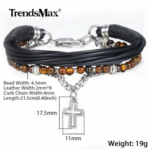 Multi Couches Bracelet Curb Cuban Chain Bead Link with Cross Charme Cuir Bracelet