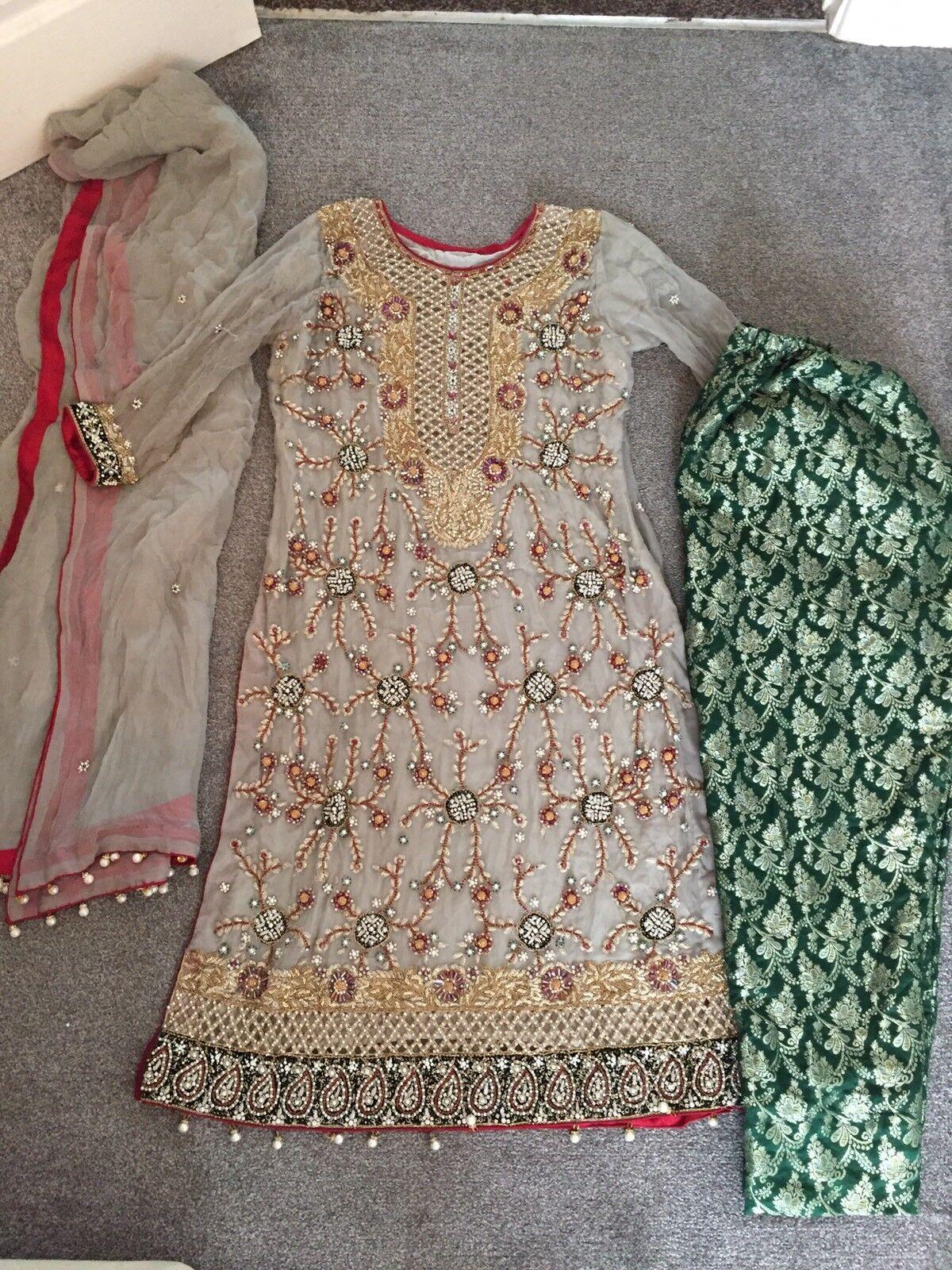 Bridal heavy stone work salwar kameez anarkali Pakistani designer Trousers M