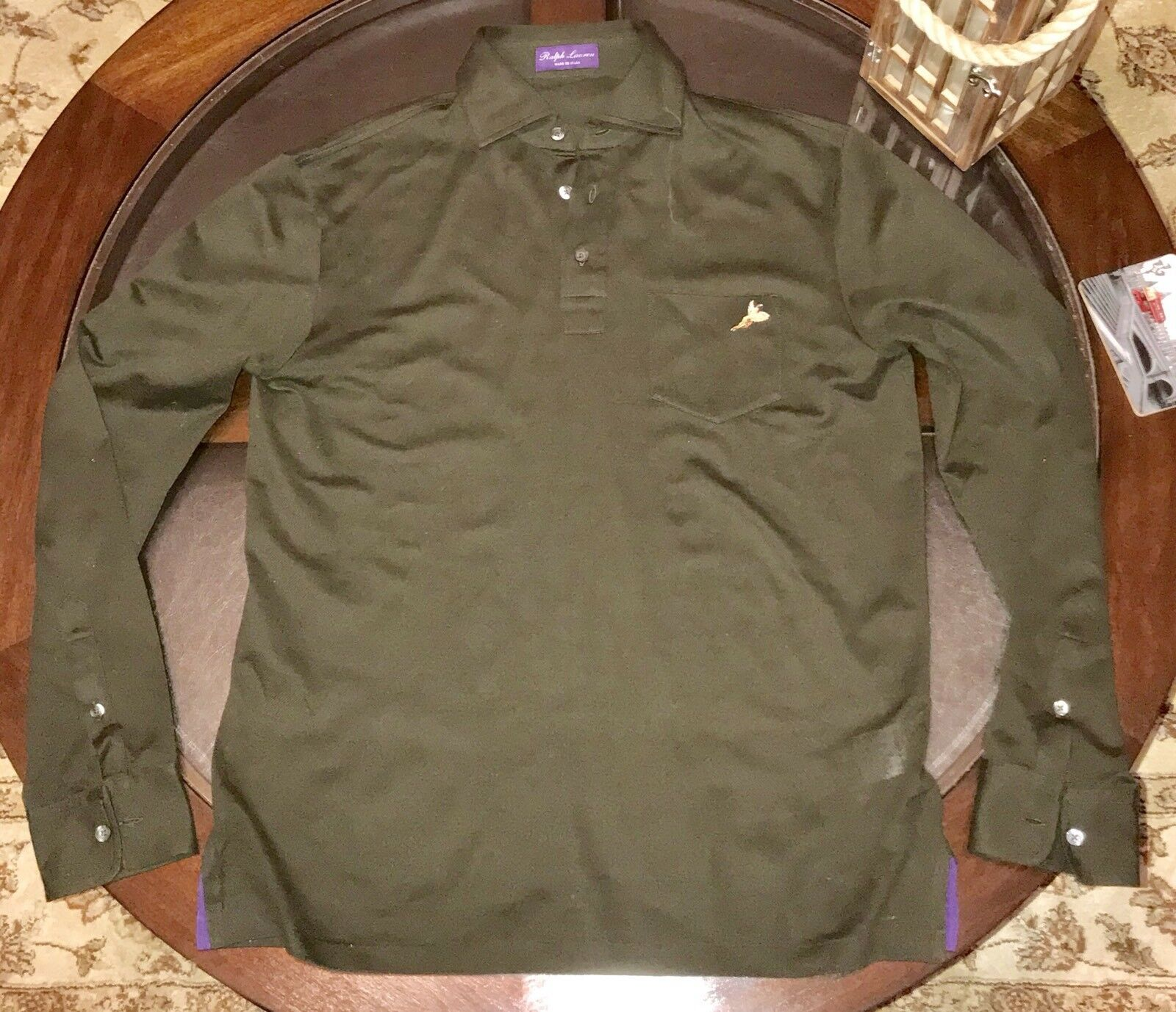 Ralph Lauren Purple Label Long Sleeve Polo Shirt Sz M Olive Green Made In