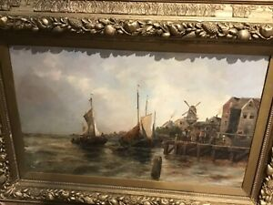 LATE-19th-CENTURY-Continental-Oil-on-Canvas-BOATS-OF-A-QUAY