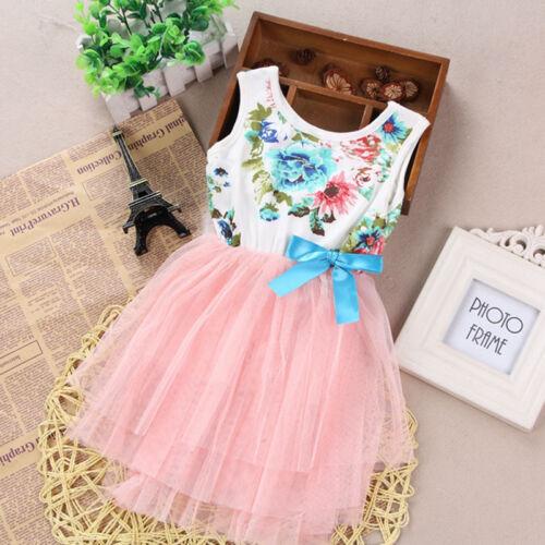 Kids Toddler Baby Girls Princess Flower Tulle  Dresses Summer birthday Party