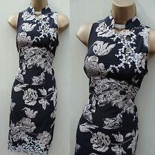 KAREN MILLEN Silk Black Oriental Rose Floral Lace Bodycon Cocktail Dress 10/8 UK