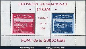 FRANCE-BLOC-EXPO-INTERNATIONALE-DE-LYON-1914-NEUF-SANS-CHARNIERE
