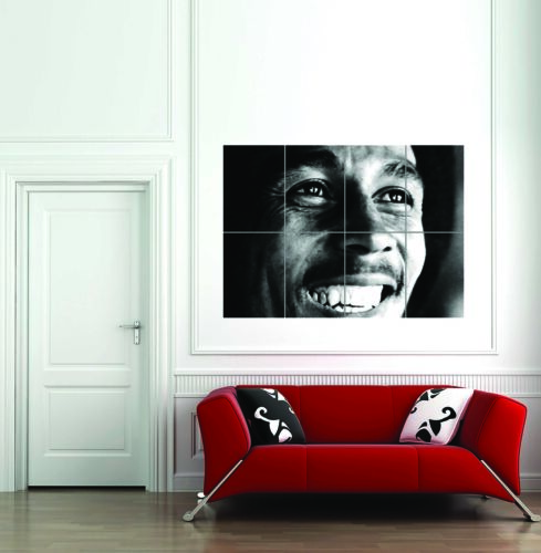 Bob Marley Face Black White Giant Picture Art Print Poster
