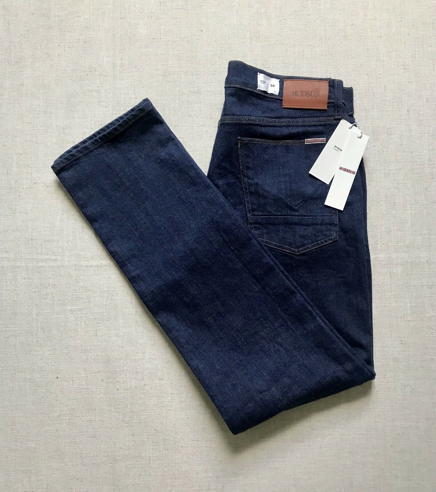 NWT MENS Size 34X34 HUDSON BYRON STRAIGHT LEG STRETCH  blueE DENIM JEANS