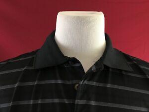 GRAND-SLAM-Golf-Black-Striped-Short-Sleeve-Polo-Shirt-Mens-Large