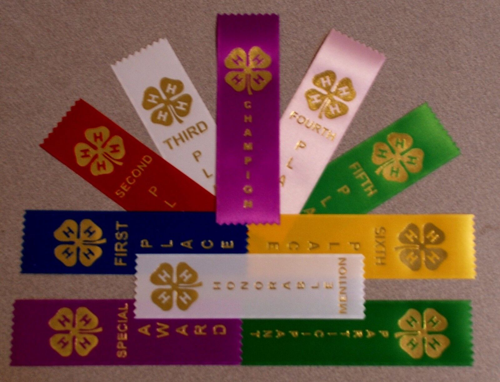 4-H, Award Place Event Prize Participant Ribbons Your choice CLOSE OUT