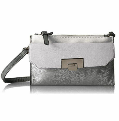 Call It Spring Womens Dradowen Cross Body Handbag Purse Silver White