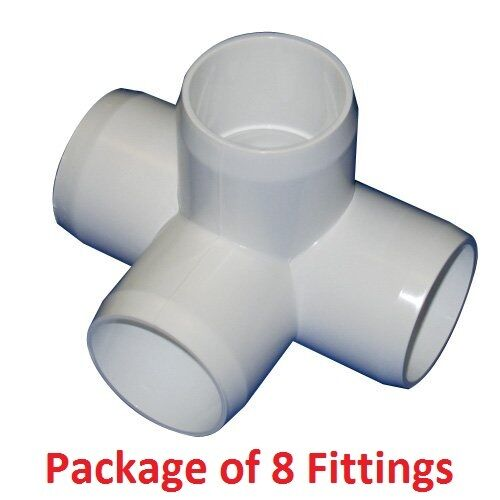 """1-1//4/"""" Furniture Grade 4-Way Side Outlet Tee PVC Fitting 8 Pack"""