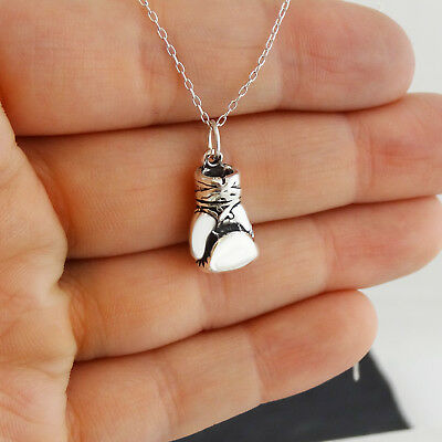 Necklace Boxing Glove Pendant Charm 925 Sterling Silver Stamped Chain
