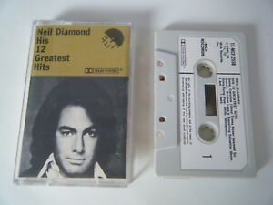 NEIL-DIAMOND-HIS-12-GREATEST-HITS-CASSETTE-TAPE-1974-PAPER-LABEL-EMI-MCA-UK