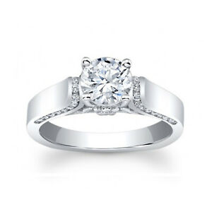 1.30 Ct Solitaire Moissanite Engagement Ring 18K Solid White Gold ring Size 6