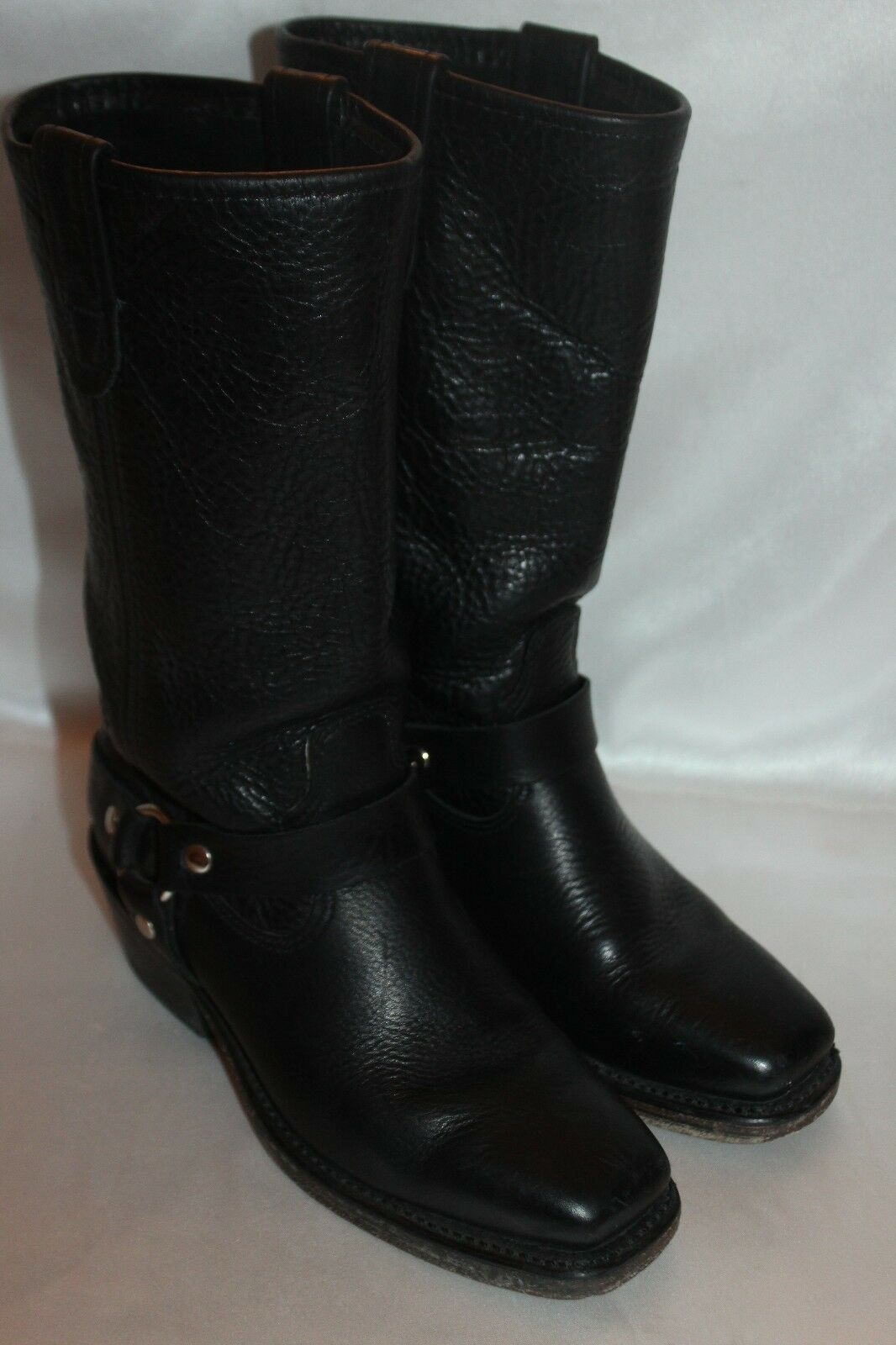 DOUBLE H Boot Company Black Leather Harness Square Toe Western Cowboy Boots 6.5