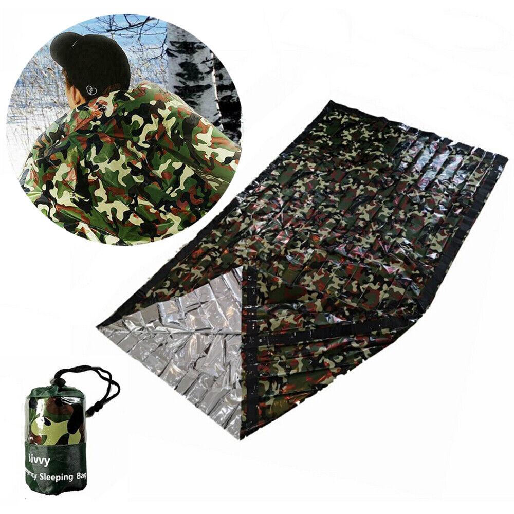 Reusable Camouflage Waterproof Emergency Sleeping Bag Thermal Camping L0Z1 S0I7