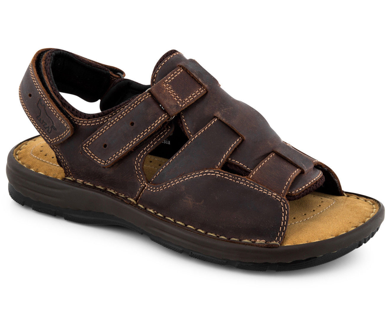 WILD RHINO MENS DANTROON SANDAL DARK BROWN -  UK MENS 10