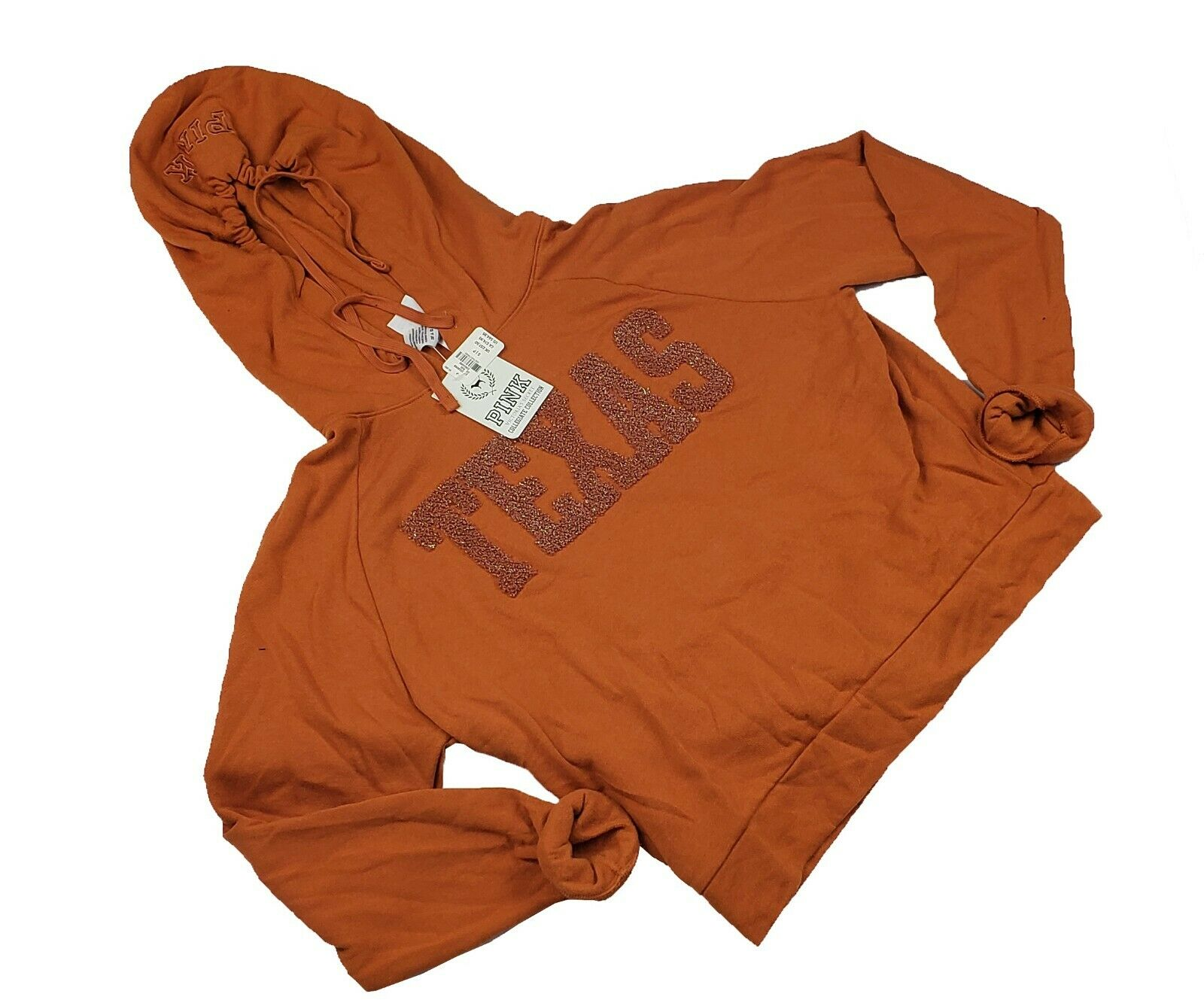NWT Victoria's Secret Pink Collegiate Collection Texas Hoodie Small