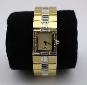 DOLCE-amp-GABBANA-D-amp-G-Gold-Tone-Rhinestone-Crystal-Baguette-Watch-New