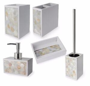 Pearl Range White Bathroom Accessory Set Soap Dish Tumbler Toilet Brush Holder Ebay