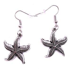 Estrella-de-Mar-Mar-Estrella-de-Mar-Pendientes-Colgante-Plata-Metal