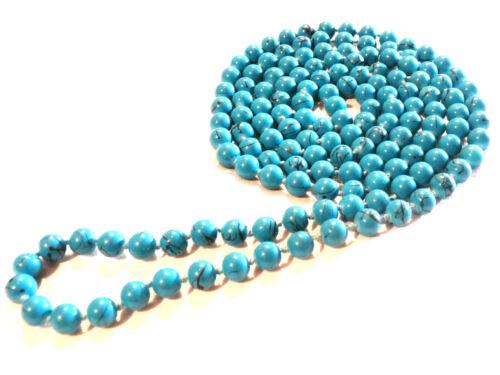 Bijou collier sautoir perles de verre teintées bleu necklace